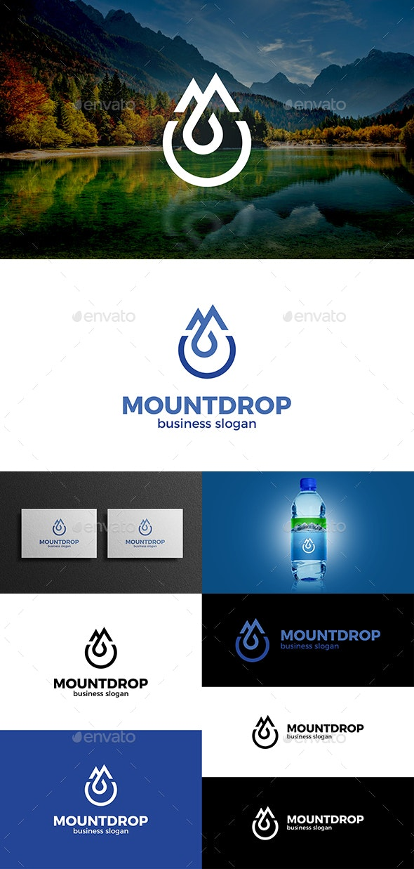 Mountains and Drop and Letter M Logo Concept por djjeep / GraphicRiver