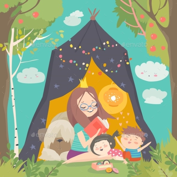 Mum and Her Kids Reading Book in a Tepee Tent por masastarus / GraphicRiver