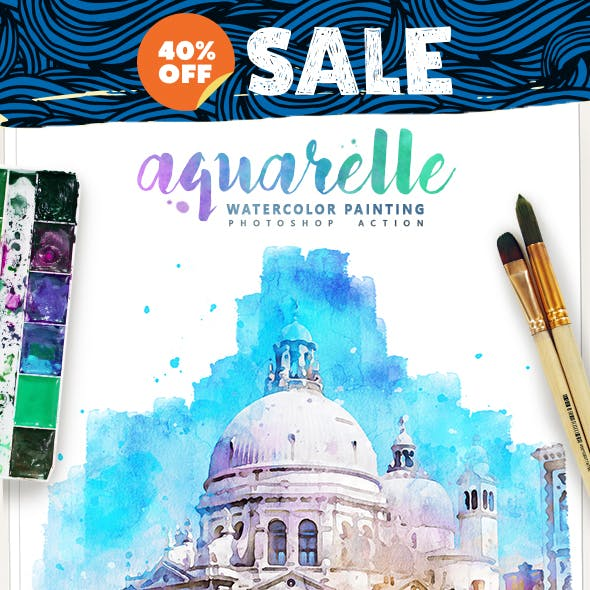 Aquarelle - Watercolor Painting Photoshop Action by IndWorks in Photo Effects