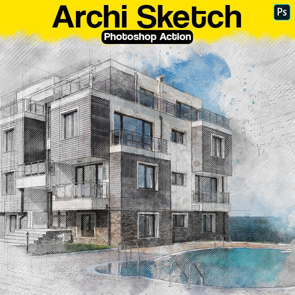Archi Sketch Photoshop Action by Eugene-design in Photo Effects