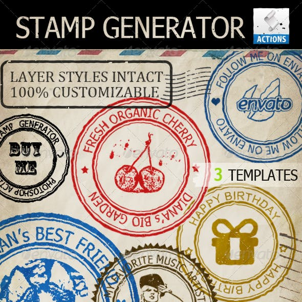 Rubber Stamp Generator Photoshop Action by psddude in Utilities