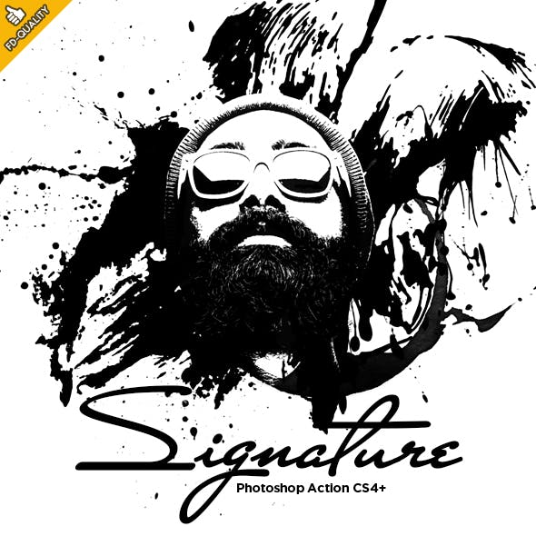 Signature - B&W Vector CS4+ Photoshop Action by FD-Design in Photo Effects