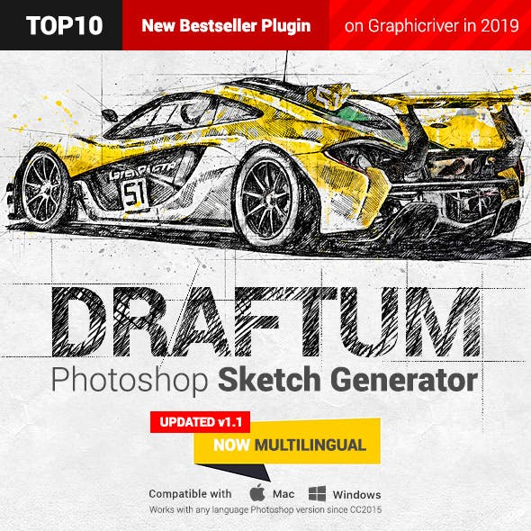Sketch Generator - Draftum - Photoshop Plugin by profactions in Photo Effects