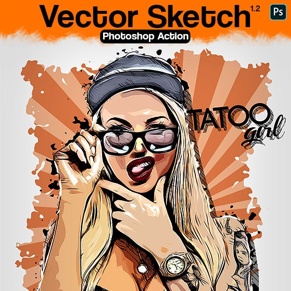 Vector Sketch Photoshop Action by Eugene-design in Photo Effects