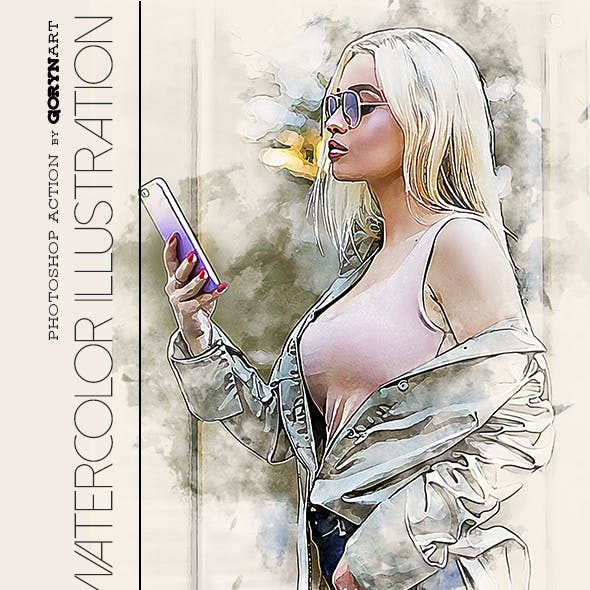 Watercolor Illustration Photoshop Action by GorynArt in Photo Effects