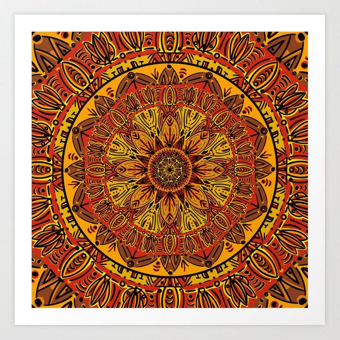Boho Mandala Rustic society6 print