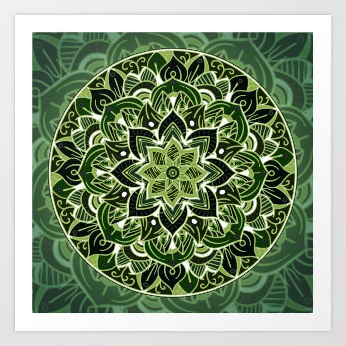 obras de art primis Neon green mandala society6