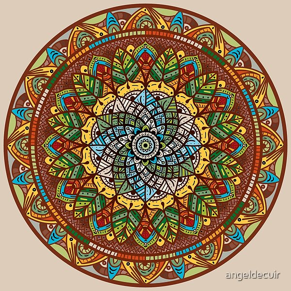 Leafy Meditation Mandala art prints on Redbubble