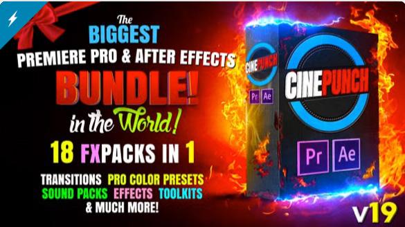 CINEPUNCH BUNDLE - Transitions I Color LUTs I Pro Sound FX I 9999+ VFX Elements Bundle  by PHANTAZMA
