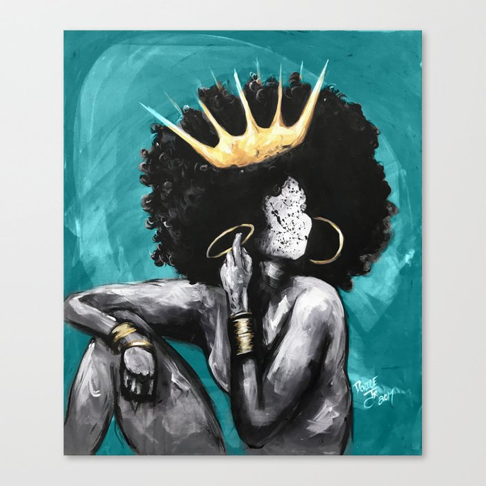Naturally Queen VI TEAL Canvas Print