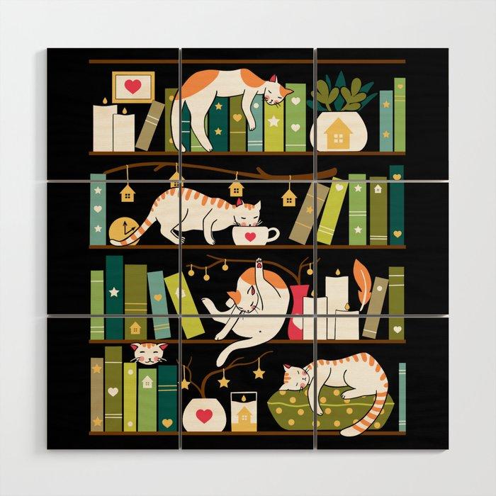 Library cats Wood Wall Art - Elena Naylor