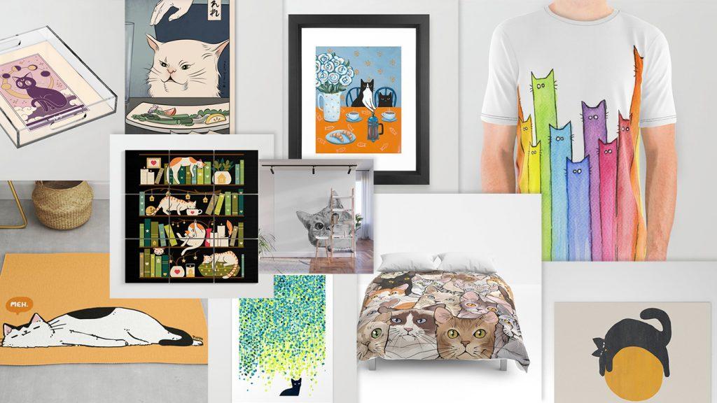 10 art prints de gatos populares en society6