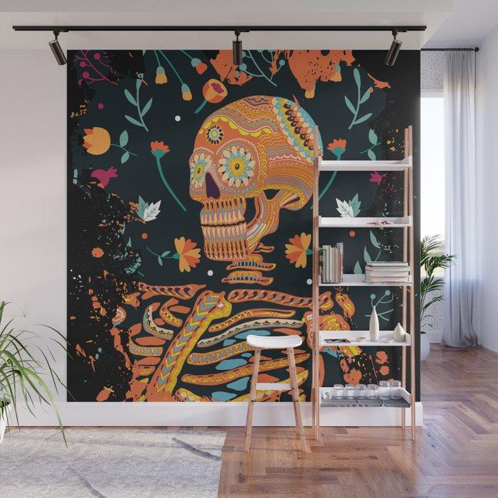 Day of the Dead Skeleton – Dia de los muertos – sugar skull – cool design Wall Mural by 流行的毛刺