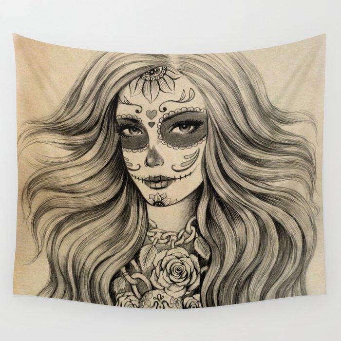 Sugar Skull Wall Tapestry by Vivian Lau
