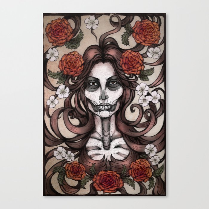 Blossoming Day of the Dead Canvas Print by Alex Kujawa