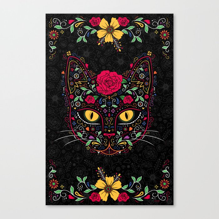 Day of the Dead Kitty Cat Sugar Skull Canvas Print by dinajune