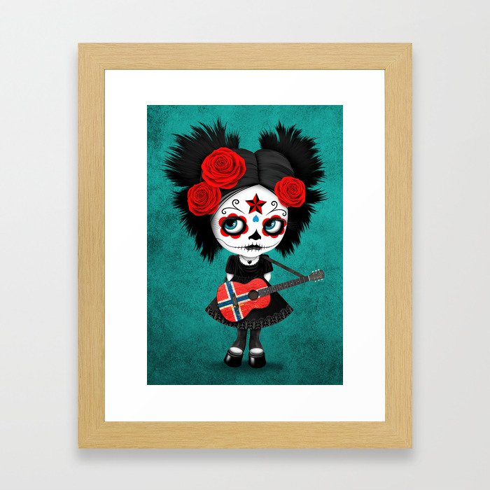 Day of the Dead Girl Playing Norwegian Flag Guitar Framed Art Print by Jeff Bartels