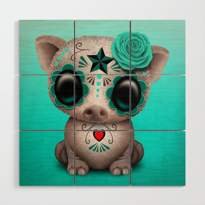 Blue Day of the Dead Sugar Skull Baby Pig Wood Wall Art by Jeff Bartels