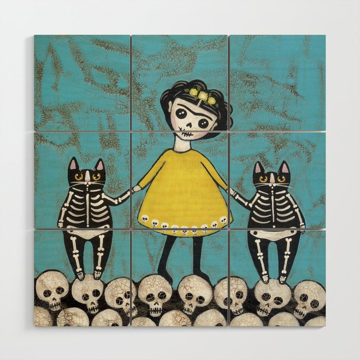 Day of the Dead Cats - Yellow Wood Wall Art by kilkennycat  Día de Muertos en Society6
