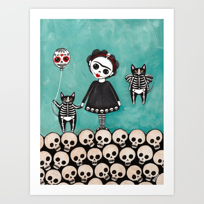 Day of the Dead Cats 9 Art Print by kilkennycat