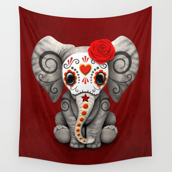 Deep Red Day of the Dead Sugar Skull Baby Elephant Wall Tapestry by Jeff Bartels