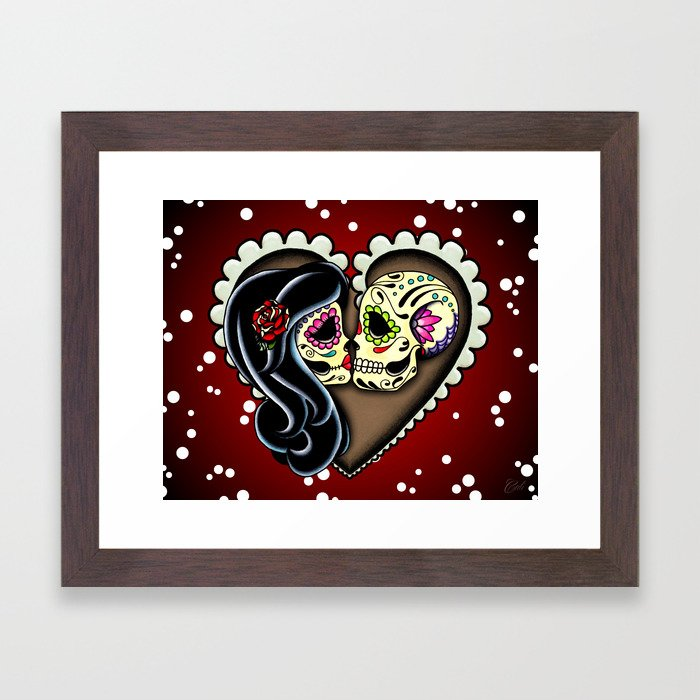 Ashes - Day of the Dead Couple - Kissing Sugar Skull Lovers Framed Art Print by Pretty In Ink