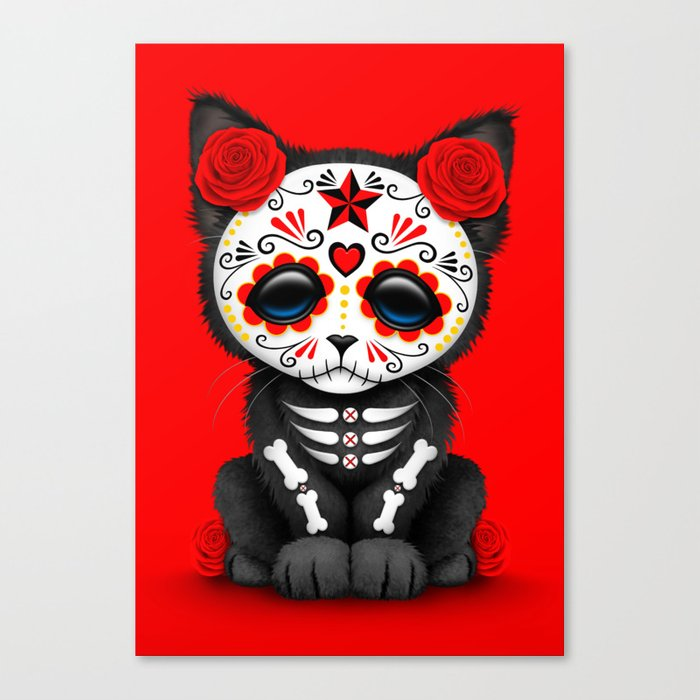 Cute Red Day of the Dead Kitten Cat Canvas Print by Jeff Bartels