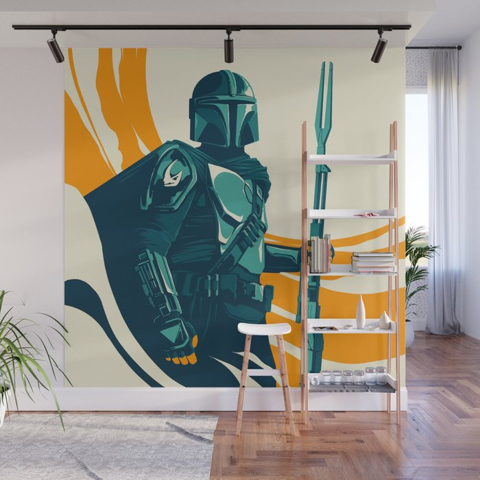 """Mando"" by Matt Kehler Wall Mural Society6 art print The Mandalorian 