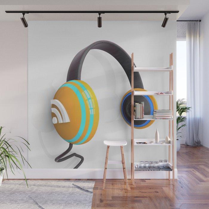 3D wifi headphones Wall Mural - ART PRINTS en Society6