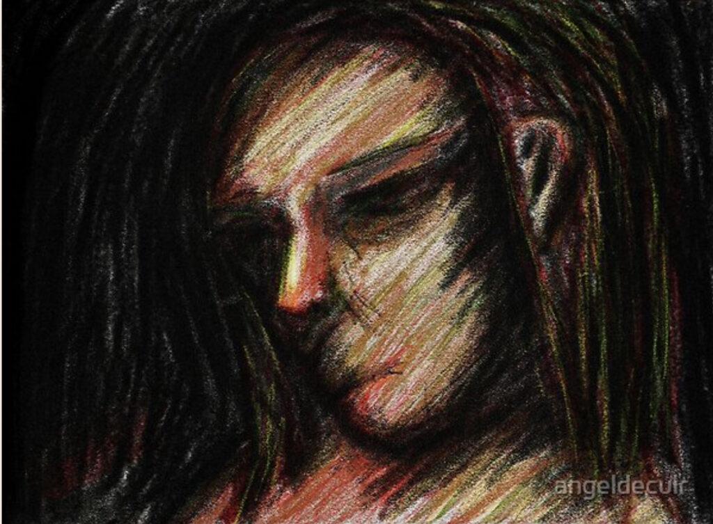 Aboriginal sketch in crayon