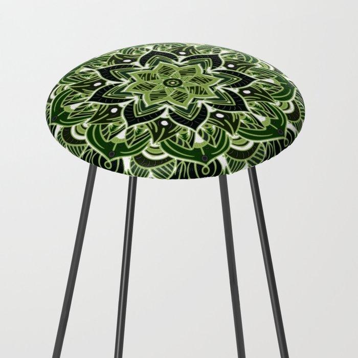 Neon green mandala Counter Stool