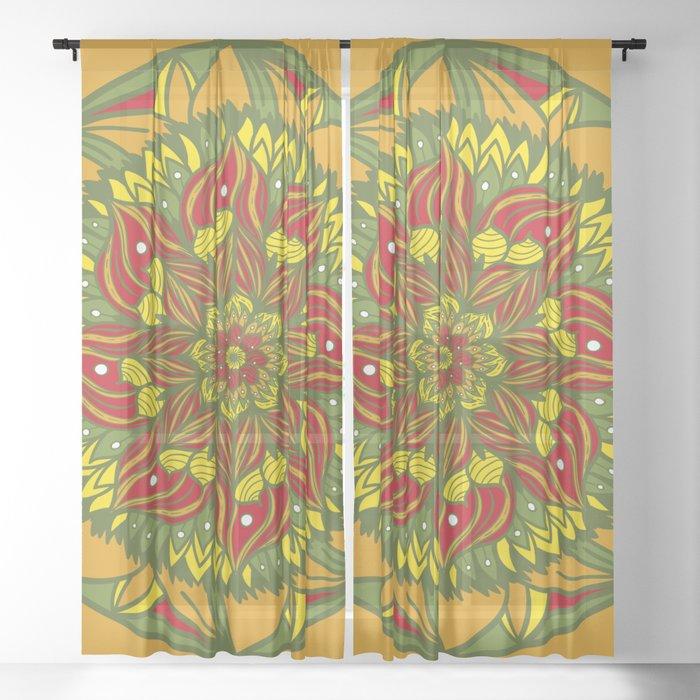 Summer mandala 4 Sheer Curtain