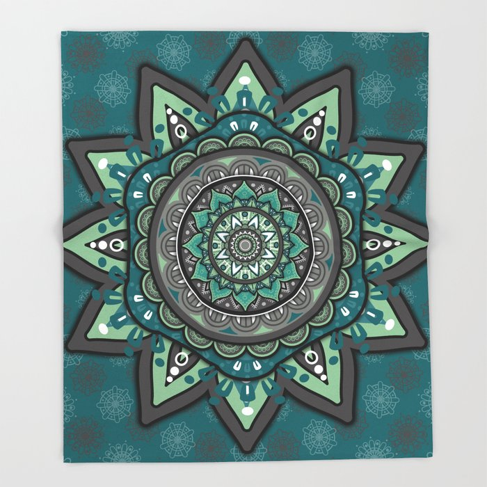 Gray Green Mandala Throw Blanket