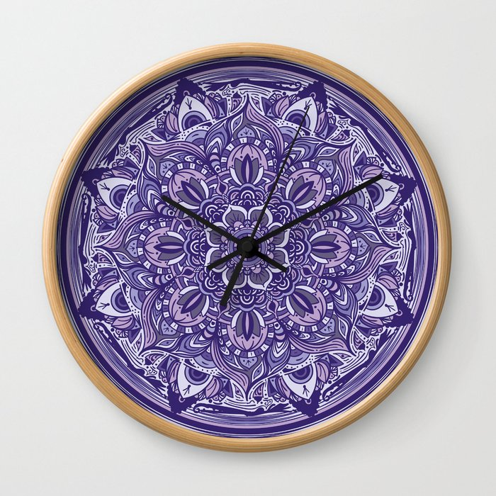 Great Purple Mandala Wall Clock