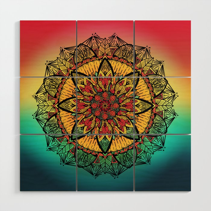 Good vibe mandala Wood Wall Art