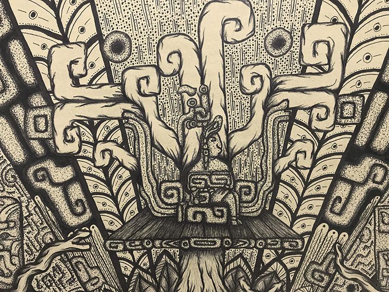 Mural mexicano Alegoría Olmeca sobre kraft y tinta