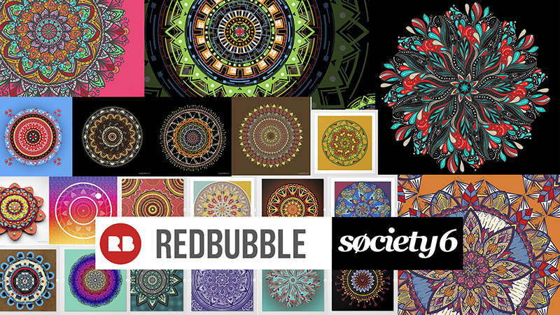 Mandalas disponibles en Redbubble y society6 para art prints