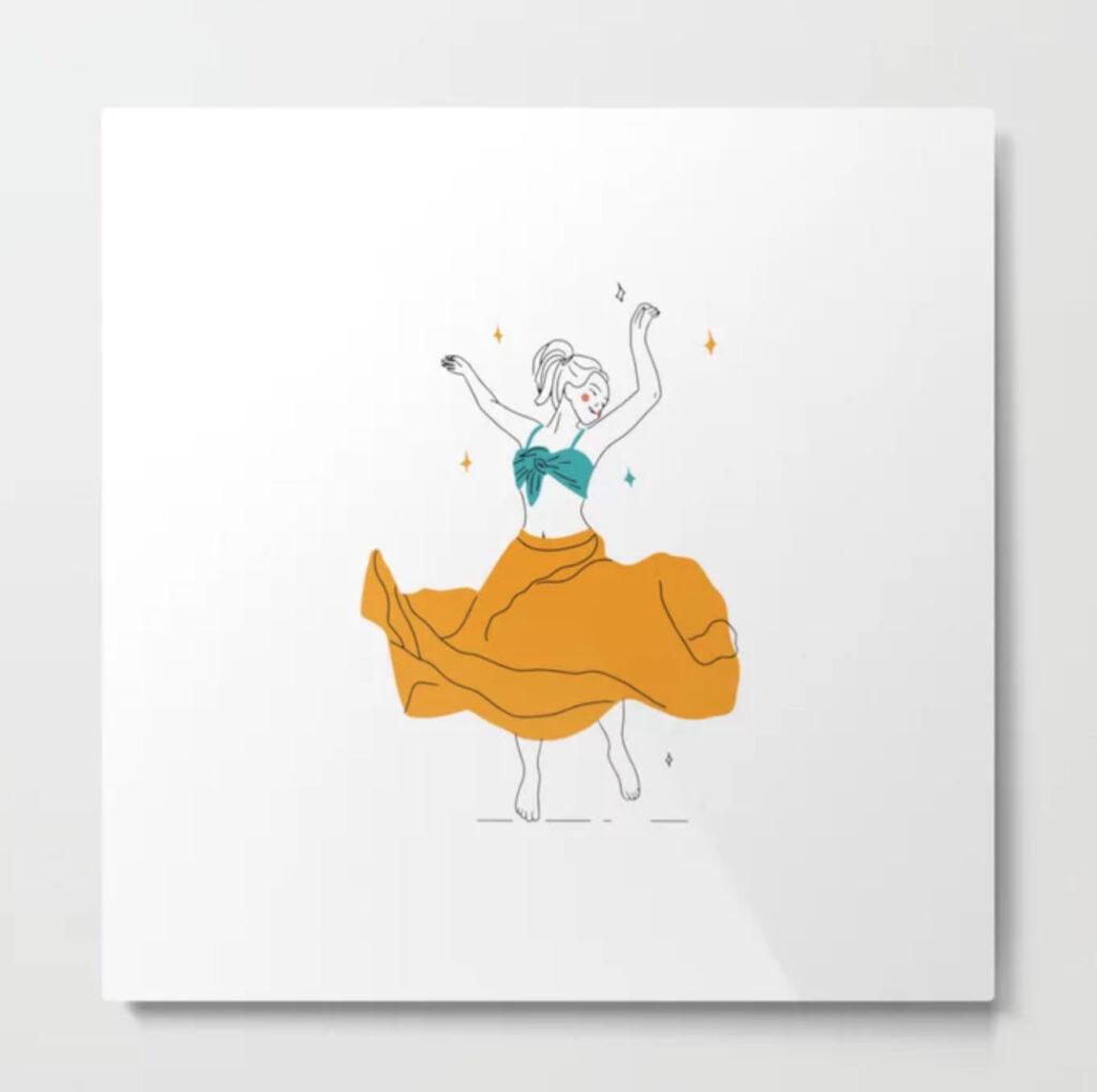 Dancing, young ,woman Metal Print - fofo-draws