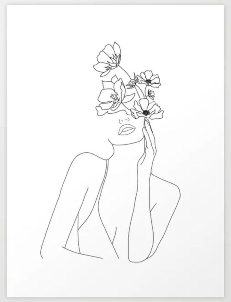 Minimal Line Art Woman with Flowers Art Print - Nadja