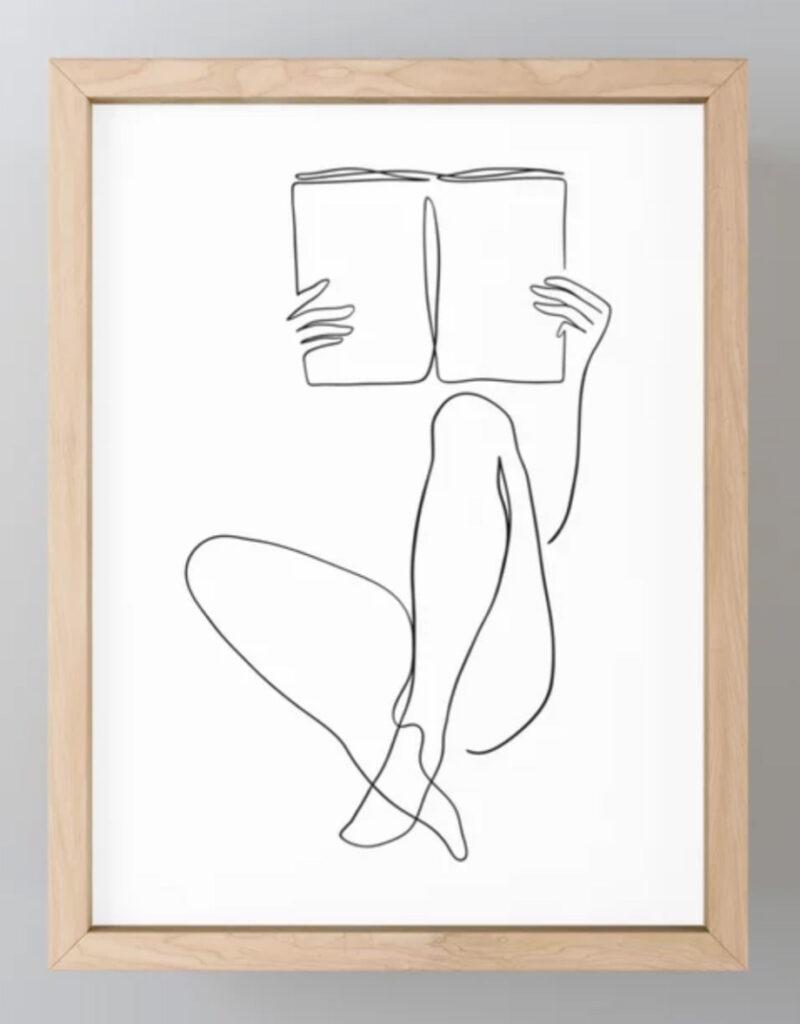 Reading Naked n.2 Framed Mini Art Print - Printable Muse