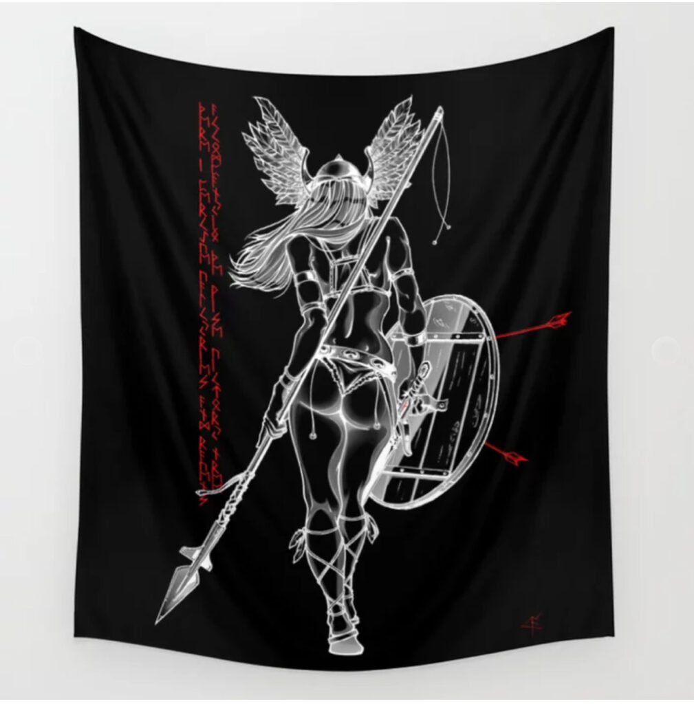 The Valkyrie - Negative Wall Tapestry - Valhalla Black