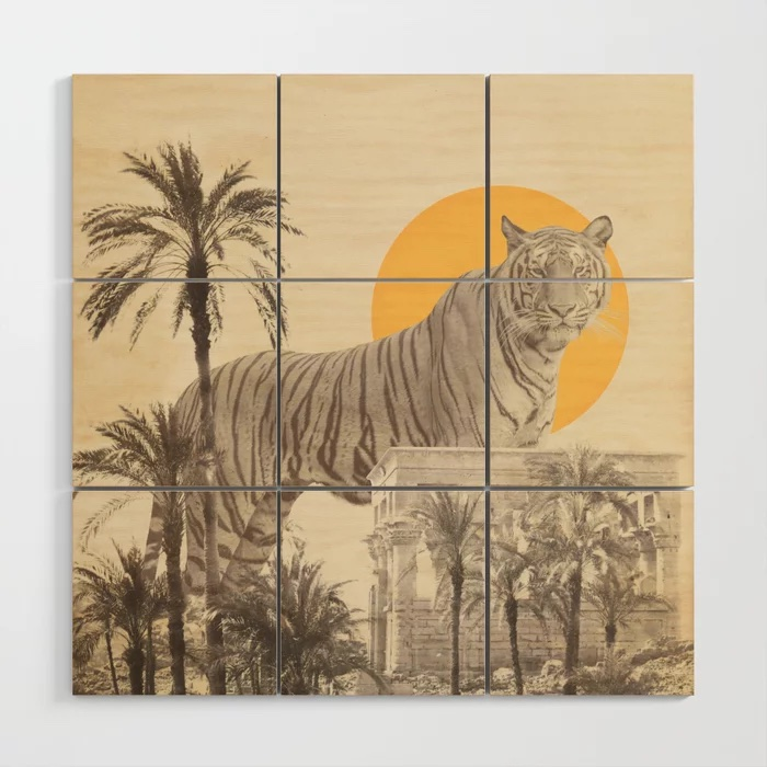 Giant Tiger in Ruins and Palms Wood Wall Art by Florent Bodart / Speakerine