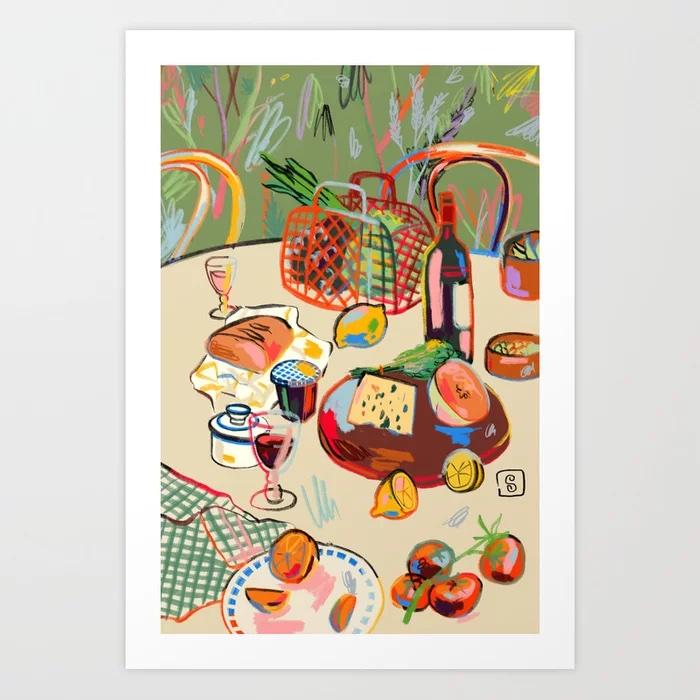 WINE BREAK Art Print by sandrapoliakov