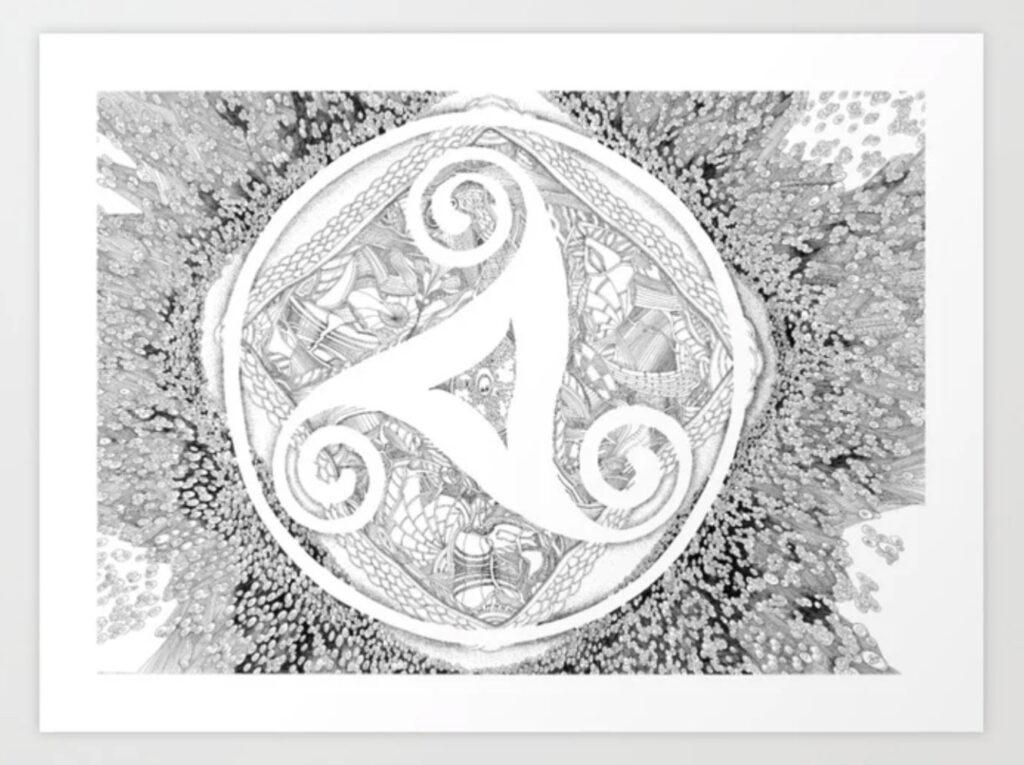 Cosmic Triskel - Mandala Energy Simbol Art Print