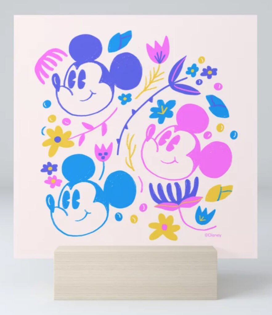 """""""Mickey Mouse Floral Pop"""" by Jenny Chang-Rodriguez Mini Art Print"""