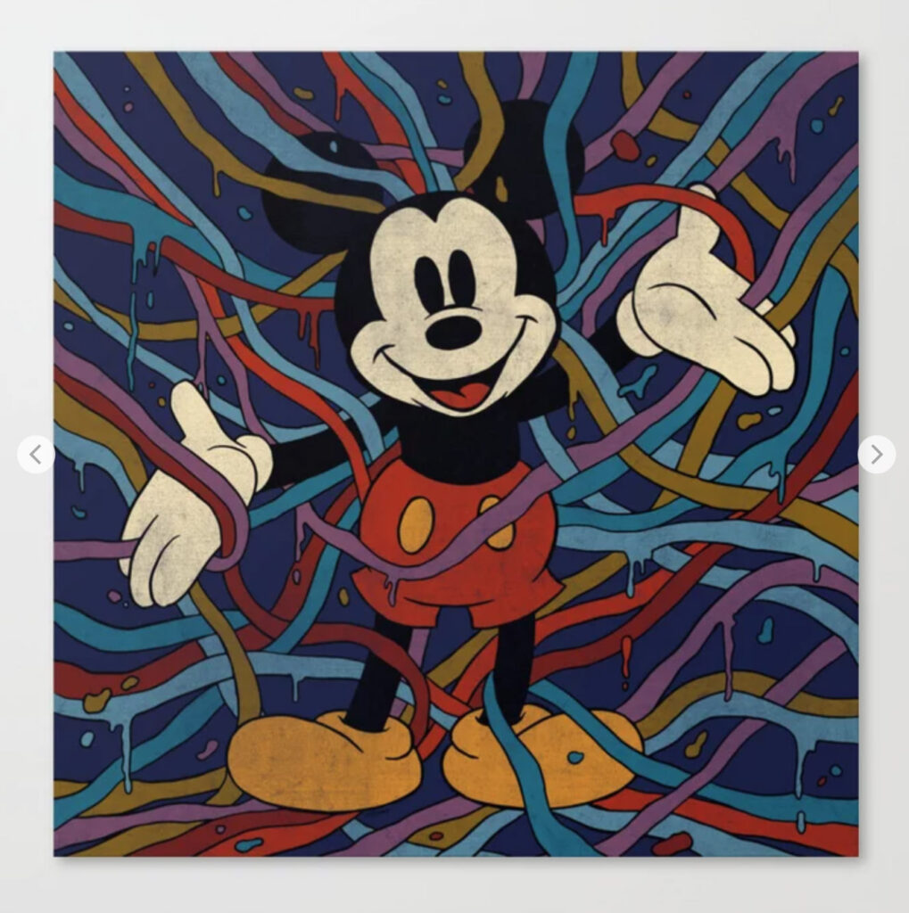 """""""Mickey Mouse Tangled in a Dream"""" by Norman Duenas Canvas Print"""