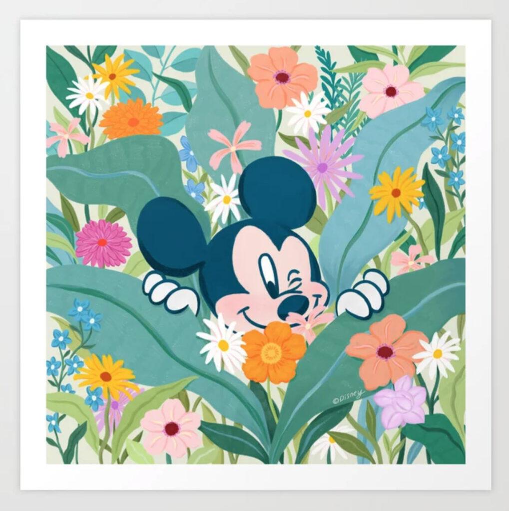 """""""Mickey Mouse in Flower Garden"""" by Sun Lee Art Print"""