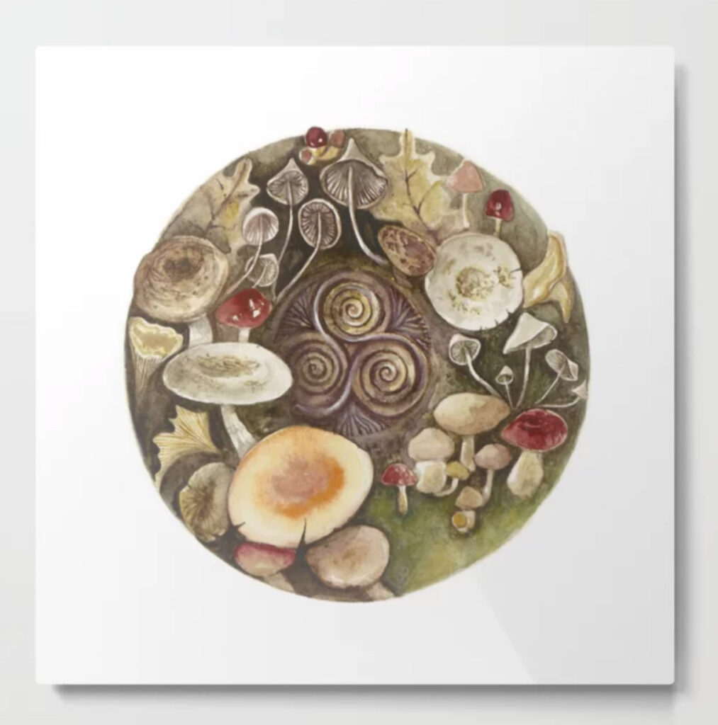Mushroom circle with a Triskel Metal Print