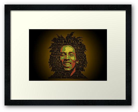 Rasta words Láminas enmarcadas para Redbubble - Bob Marley Typo