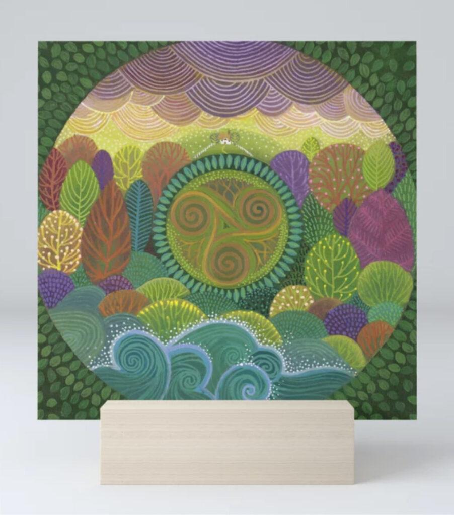 Triskelion Landscape Mini Art Print  Trisquel celta